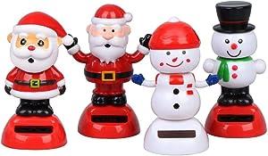 Welecom 4 Solar Dancing Snowman Toy Solar Powered Dancing Santa Claus in Colorful Pots Swinging Santa Flip Flap Animated Bobblehead Dancer Window Sun Catcher Car Dashboard Decor Portable Suncatchers