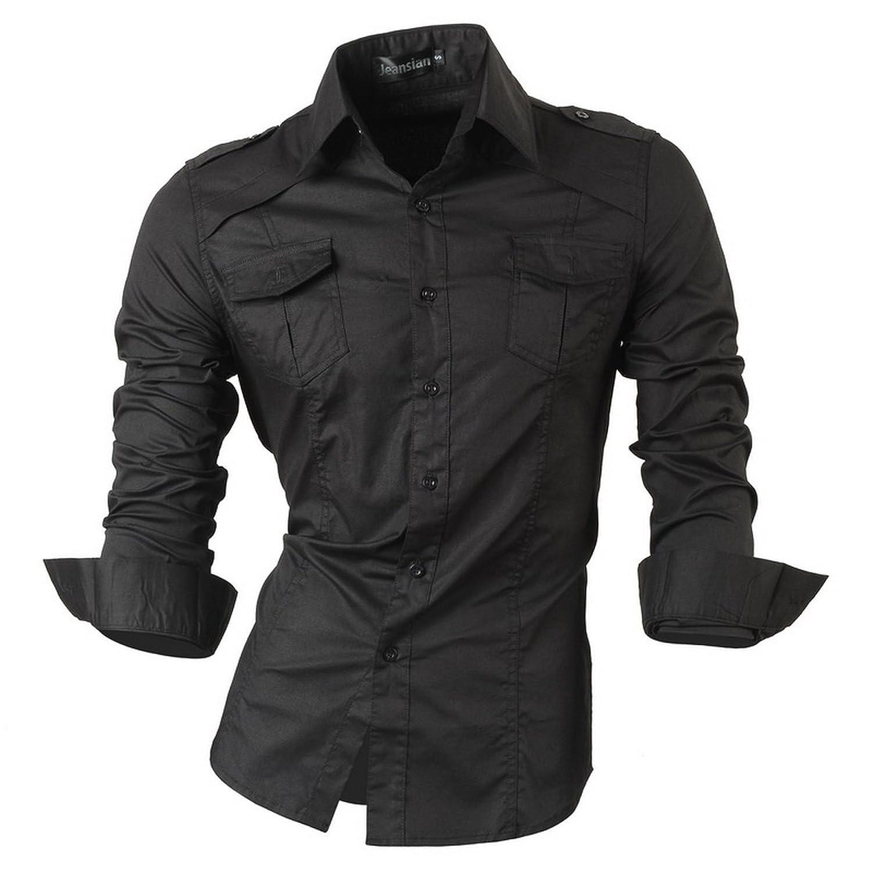 jeansian Herren Freizeit Hemden Shirt Tops Mode Langarmshirts Slim Fit 8371:  Amazon.de: Bekleidung