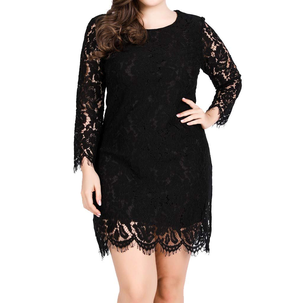 Women Plus Size Solid Long Sleeve Lace Sheer Smock Button Irregular Casual Top (XXXXXL, Y-Black)