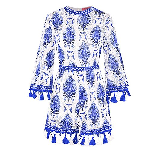 2018 Ladies New Lace Casual Ethnic Style Ladies Holiday Comodo Tassel Ricamato A Maniche Lunghe Pantaloni Tuta Set,Blue,L