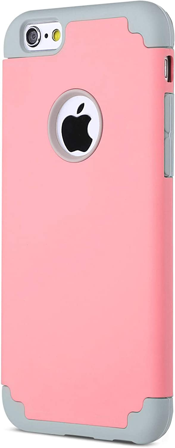 Ailun Phone Case for iPhone 6s iPhone 6 Soft Interior Silicone Bumper Hard Shell Solid PC Back Shock-Absorption Skid-Proof Anti-Scratch Hybrid Dual Layer Slim Cover Pink