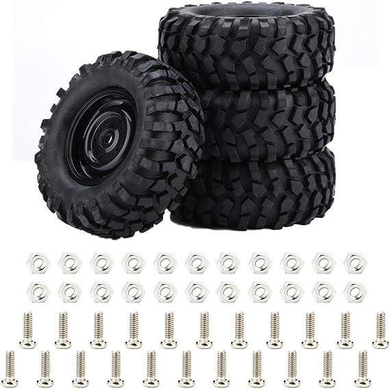 Dilwe Neumático de Coche RC, 4 Piezas de neumático de Goma para 1:10 Rock Crawler Offroad RC Control Remoto Pieza de Accesorio de Coche