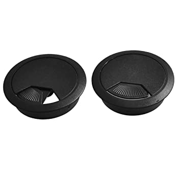Furniture Accessories 2 Pcs 53mm Diameter Desk Wire Cord Cable Grommets Hole Cover Black