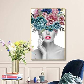 Amazon.com: woplmh Moda Mujer Hermosa retrato y Flor lienzo ...