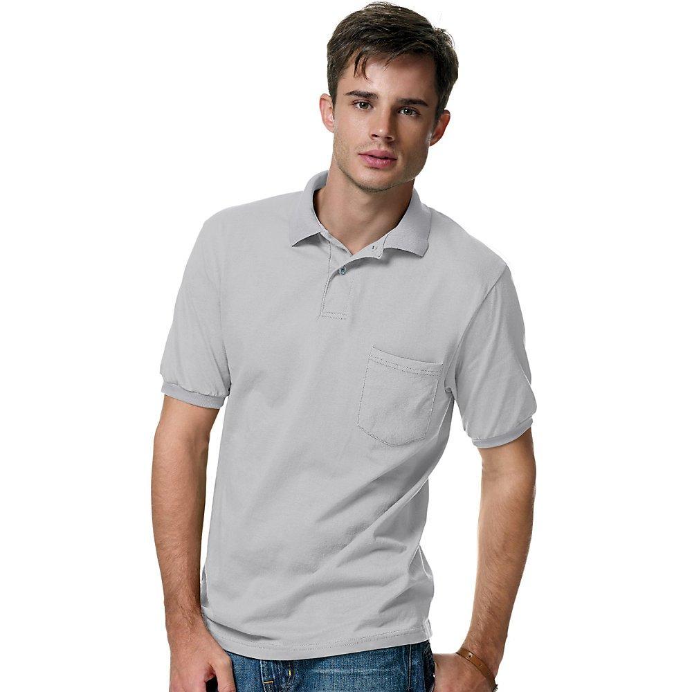 Hanes Polo Cotton-Blend Jersey para hombre con bolsillo, acero ...