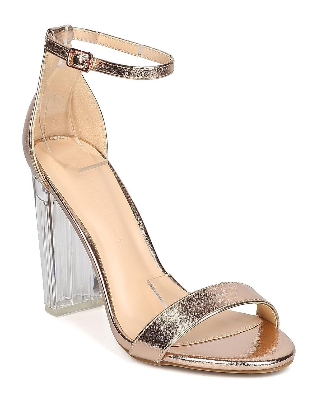 Wild Diva GA62 Women Metallic Leatherette Lucite Block Heel Ankle Strap Sandal - Rose Gold