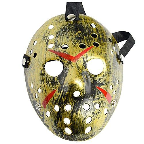 L'VOW Horror Resin Freddy Vs Jason Hockey Mask Cosplay Halloween Costume Prop (Gold) ()