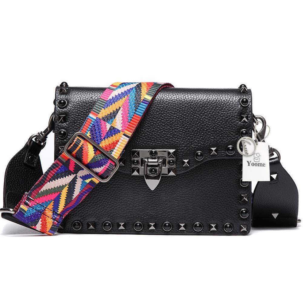 e073420d107 Yoome Small Punk Crossbody Bag Designer Clutch for Women Rivets Bags  Genuine Leather Shoulder Bag for Girls