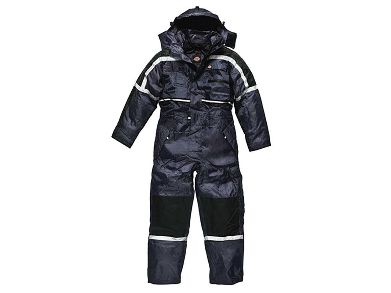 Dickies Mens Padded Heavy Duty Coverall Overall Hard Wearing Hood Quilted Lining Leg Zip Warm Multi Chest Pockets Back Pockets Tunnel Suit Weather Protection Reflective piping detail WP15000