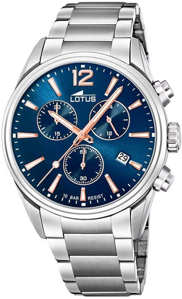 Reloj Lotus Chrono 18690/2 para Hombre, Esfera Azul y Redonda de 42 mm, Correa de Acero
