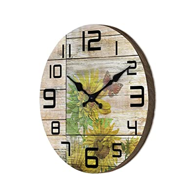Buy Farmhouse Sunflower Wall Clocks For Kitchen Decor Wooden Silent Wall Clocks 12 Inches Print Butterfly Quartz Easy To Read Clocks For Living Room Bedroom Office Coffee Shop Online In Indonesia B08ntdcnsx