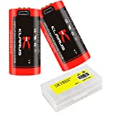 Klarus 16340UR70 700mAh 16340 3.6V Li-ion Rechargeable RCR123A Battery Micro-USB Charging With SKYBEN Battery Case (2-Pack)