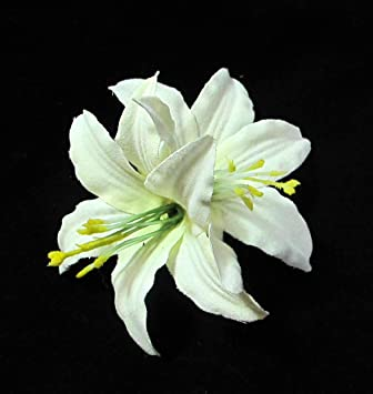Amazon ivory lily flower hair clip white lily hair clip beauty ivory lily flower hair clip mightylinksfo