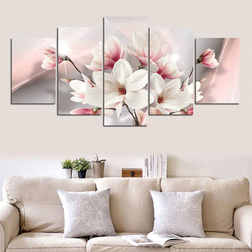 yj_art Pink Floral Wall Art Giclee 5 Pieces Canvas Print Picture Decoration Home Living Room Decor Flower (Overall Size: 60''W x 30''H)