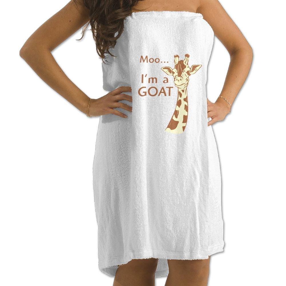 Dianqusha Moo, I'm A Goat Women's Adjustable Microfiber Plush Spa Bath Shower Wrap For College Dorms, Pools, Gyms, Beaches, Locker Rooms, Bathroom