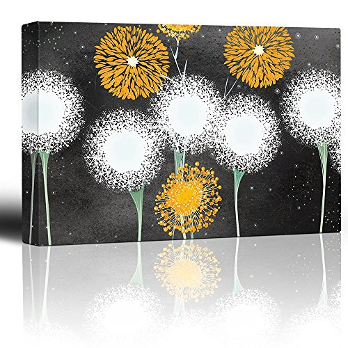 Black Over Print (Wall26 - Illustrations of Yellow and White Dandelion Flowers Over a Black Chalkboard Background - Canvas Art Home Decor - 16x24 inches)