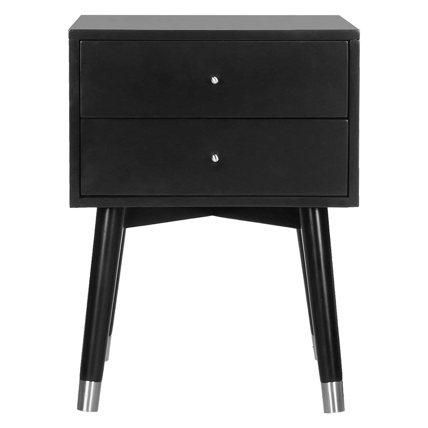 Retro 2 drawer nightstand black silver finish contemporary design durable frame bedroom furniture bedside table bundle with our expert guide with tips