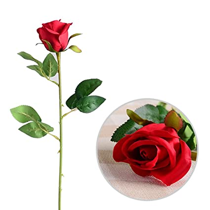 Multicolor Artificial Flowers Single Stem Rosebud Handmade Silk