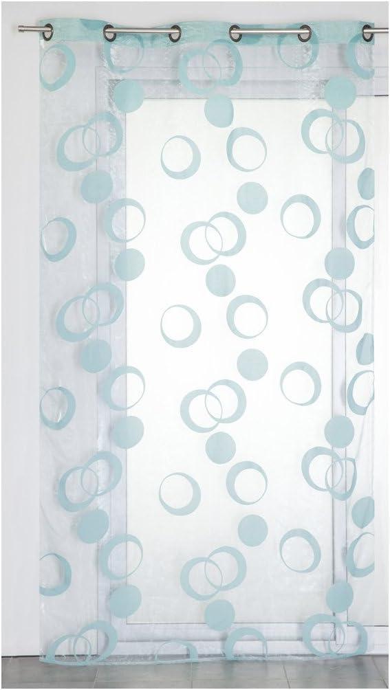 RideauDiscount Voilage Organza 6 Oeillets 140 x 240 cm Motif Cercles Floqu/és Velours Bleu Anis
