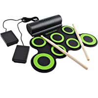 deAO Kit de Batería Electrónica con Modelo Plegable Portátil Conjunto Tapete Musical de Percusión Tambores, Platillos y…