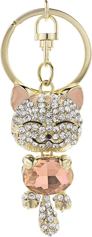 XCHJY con Lindo Gato cristalino Diamantes de imitación llaveros Llavero Llavero Anillos Bolso de Bolso para Coche llaveros encantadores Llavero (Color : Champagne)