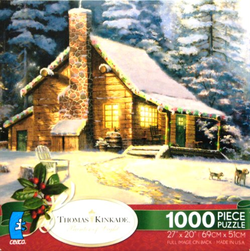 THOMAS KINKADE Painter of Light Christmas Retreat 1000 Piece Jigsaw PuzzlE MADE IN USA PUZZLE