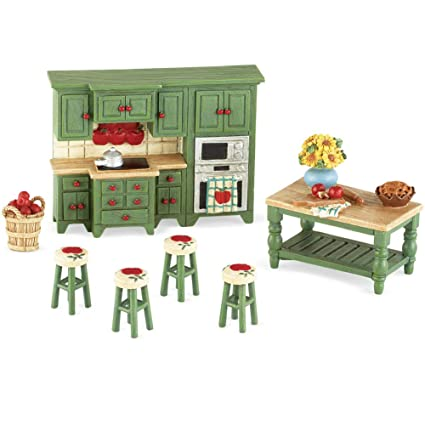 Collections Etc Miniature Apple Themed Country Kitchen 7 PC Set