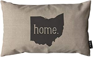 EKOBLA Throw Pillow Cover Home Ohio State Symbol Hand Drawn Lettering Gray Black Rectangular Throw Pillow Covers for Couch Sofa Home Decor Cotton Linen 12x20 Inch