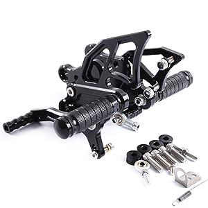 For Motorcycle Rearsets Rear Foot Pegs CNC Rear set Footrests Fully Adjustable Rear Foot Boards (KAWASAKI NINJA 300/250 2013-2016, black)