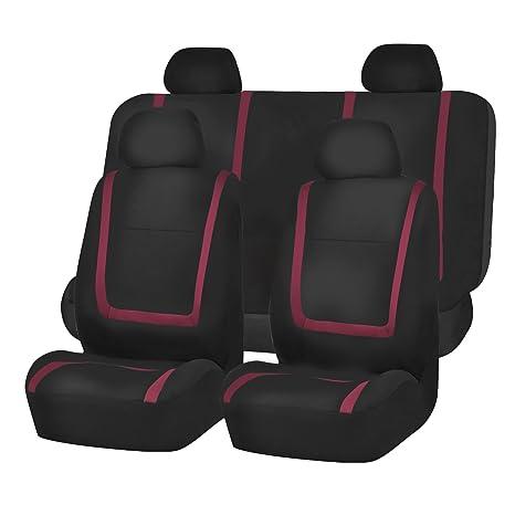 FH Group FB032BURGUNDY114 Burgundy Unique Flat Cloth Car Seat Cover W 4 Detachable Headrests