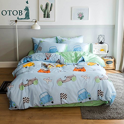 ORoa Lightweight Cotton Car Duvet Cover Twin Sets 3 Piece Reversible Home Textile vehicle Car Airplane Bedding Sets with Pillow Shams for Kids Boys Grils Toddler Crib,Blue,No Comforter (Twin,Style 5) Crib Bedding Cars