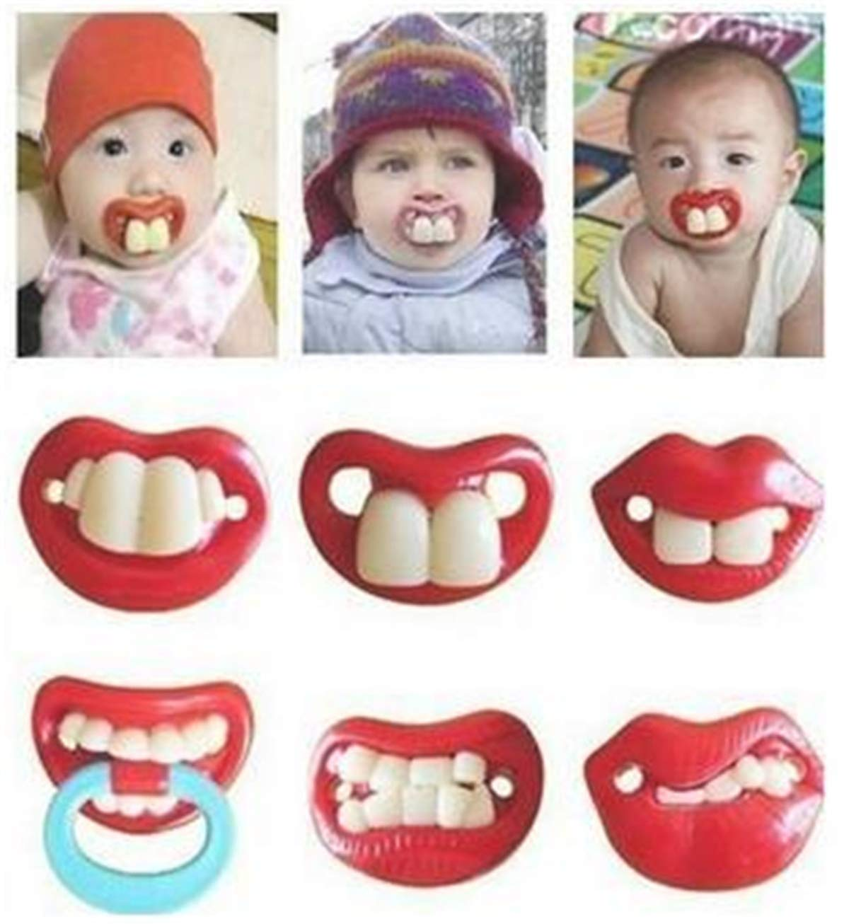 6pcs Unisex Funny Teeth and Red Lips Pacifiers, Cute Red Lip Designed Baby Pacifiers for Soothe Your Newborn Baby, Perfect Baby Shower Gift for Your Little Boys Or Girls! by Weahre
