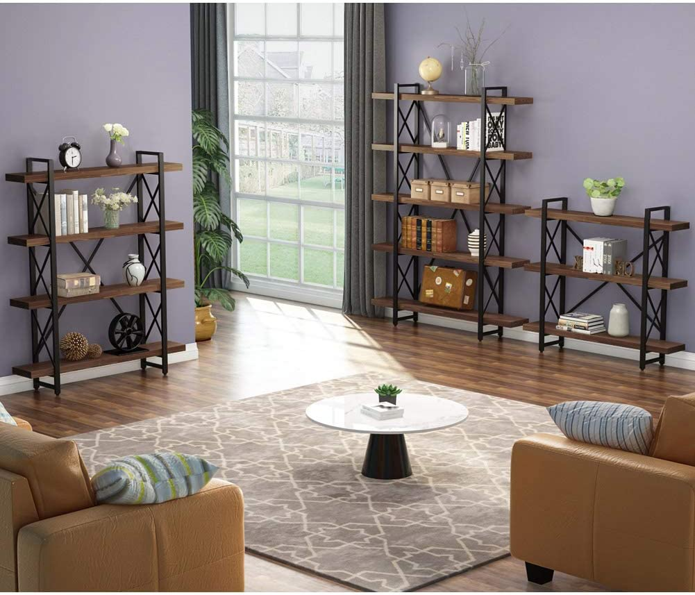 LITTLE TREE Solid Wood 5-Shelf Industrial Style Bookcases