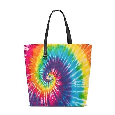 Amazon.com: ALAZA Tie Dye Rainbow bolsa Bag bolso de mano ...