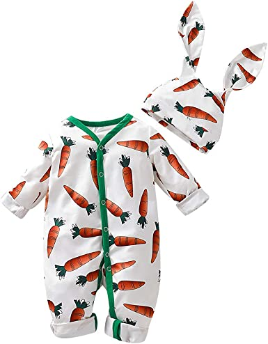 Baby Jumpsuit Infant Bodysuit Toddler Long Sleeve Cotton Romper Girl Boy Kid Cartoon Rabbit+Ears Hat Outfitss