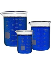 Karter Scientific 214T2, 3.3 Boro, Griffin Low Form, Glass Beaker Set - 3 Sizes - 50ml, 100ml, 250ml