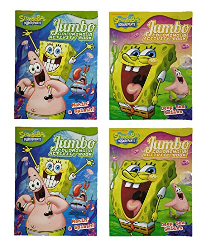Set of 4 Sponge Bob Squarepants 64 Page Jumbo Coloring Books Over 250 Pages