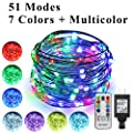 ErChen 51 Modes 7 Colors + Multicolor New LED string light, 33 FT 100 Upgraded RGB LEDs Color Changing Plug In Silver Copper Wire Fairy Light with Remote Timer for Indoor/Outdoor Decor Christmas