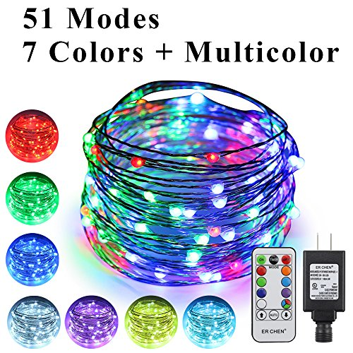 ErChen 51 Modes 7 Colors + Multicolor LED String Lights, 33FT 100 RGB LEDs Plug in Color Changing Silver Copper Wire Fairy Lights with Remote Timer UL Adapter for Christmas - Light Cyan Model