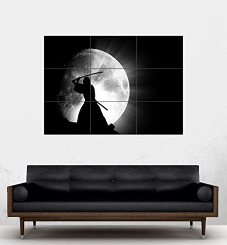 Amazon.com: Japonés Samurai Ninja gigante Moon Póster PE200 ...