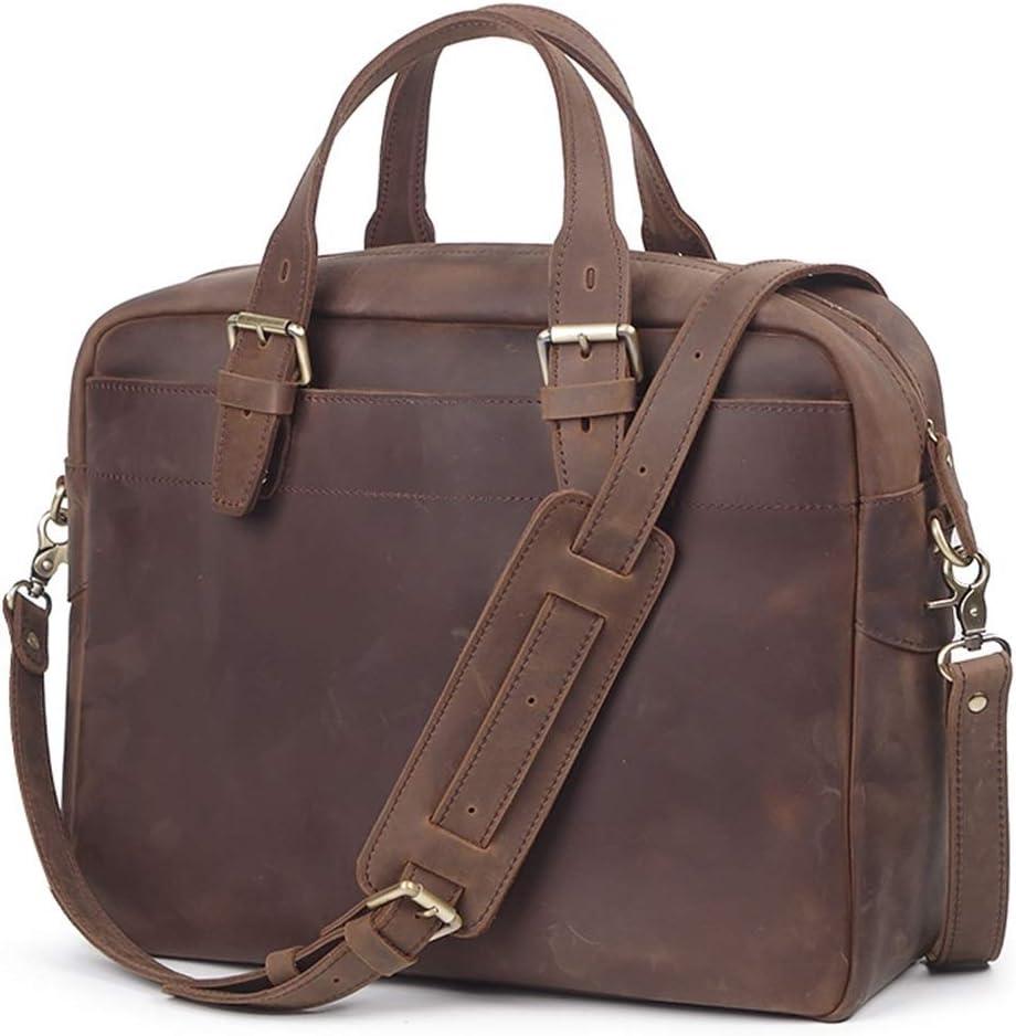 Leather Laptop Briefcase Shoulder Bag Mens Leather Handbag Large Capacity Multifunctional Travel Bag Shoulder Message Bag Business Briefcase Business Travel Messenger Bag Color : Dark brown