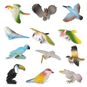 PIXNOR Bird Toys Plastic Model Bird Figures Kids Toy - 12 Pieces