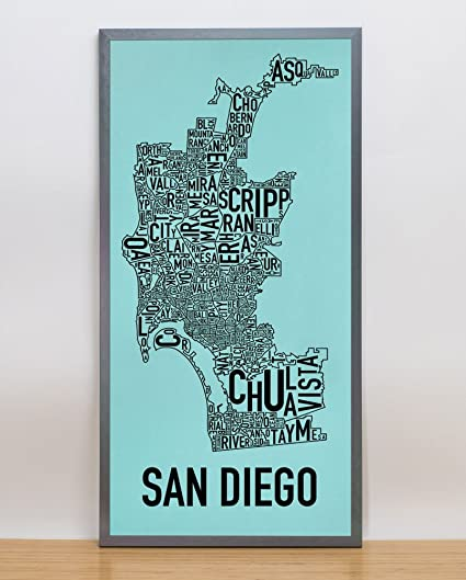 San Diego Map Of Neighborhoods.Amazon Com Ork Posters Framed San Diego Neighborhoods Map Screen