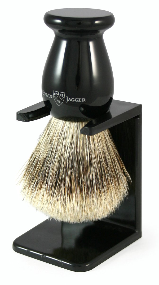 Edwin Jagger 3ej946lds Handmade Imitation Ebony Shaving Brush with Drip Stand, Black, Large