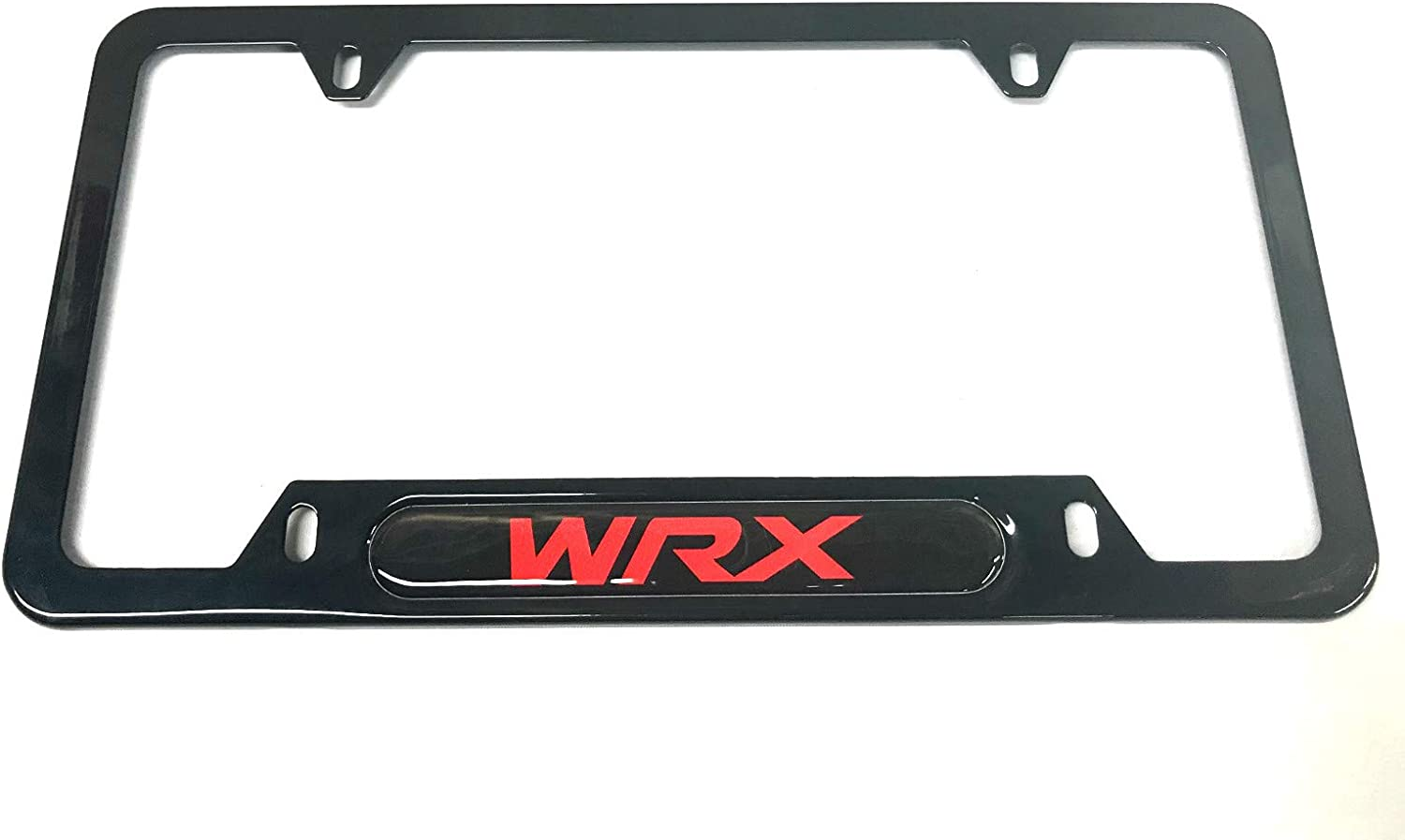 2 Black Auteal Car Stainless Steel Metal WRX License Plate Tag Frame Cover Holders w//Caps Screws for Subaru