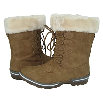 Women's Winter Ice Snow Boots Cold Weather Faux Fur Full Lined Water-Resistant Alpes