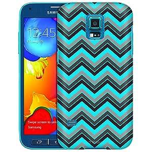 Samsung Galaxy S5 Sport Case, Slim Fit Snap On Cover by Trek Chevron Neon Blue Black Case