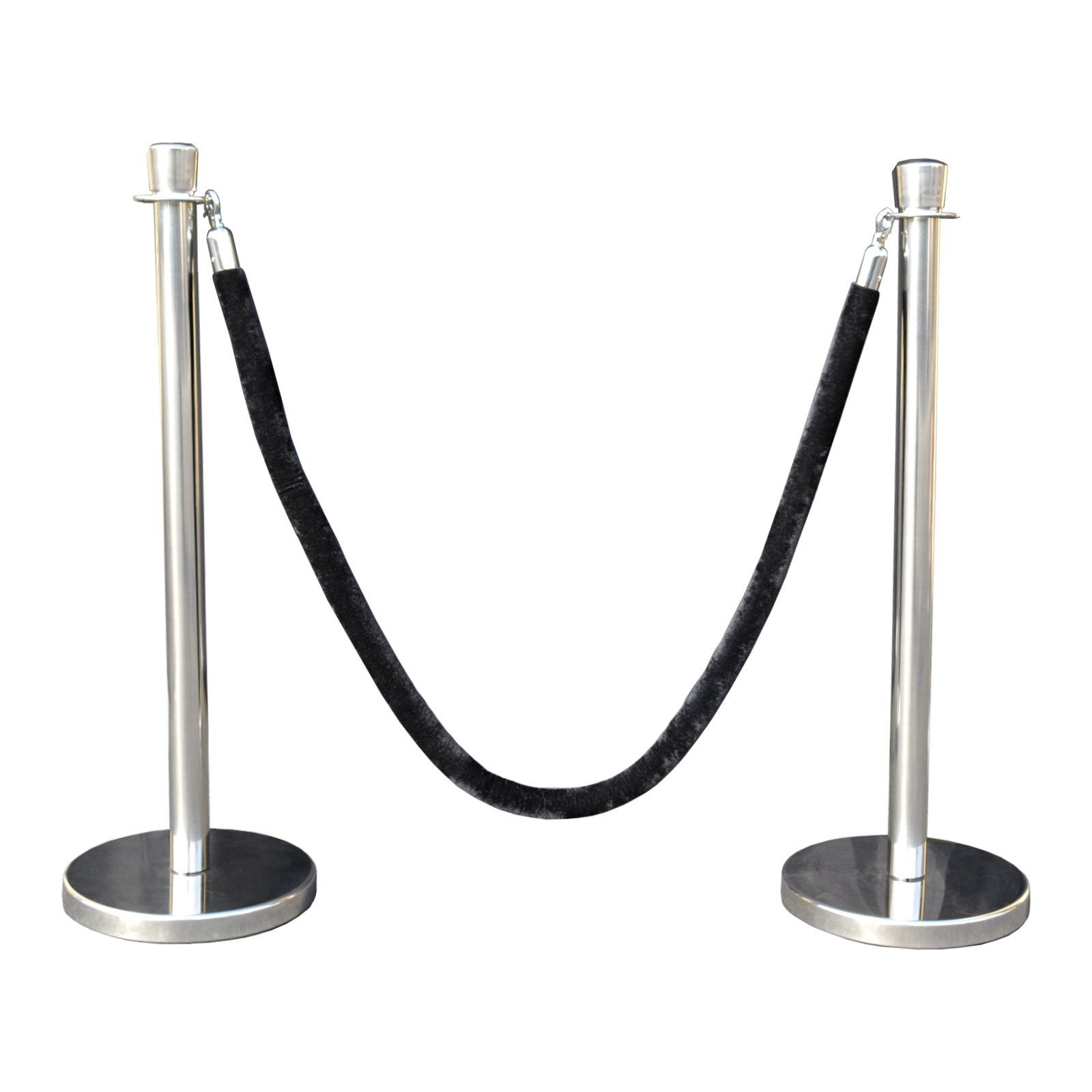 Rope Stanchion Set in 3 pcs, 72'' Black Velour Rope & Taper Top, Mirror Finished