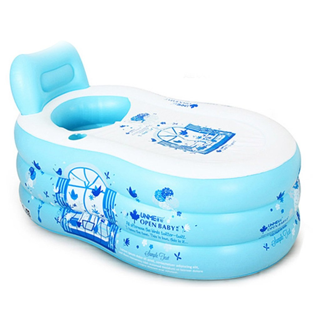 Inflatable Folding Large Thicken Bathtub Printing Powder Printing Blue Transparent Powder Material: PVC Size: Large Size: 1508575cm, Small Size: 1307070cm Inflatable Bathtub (Color : C)