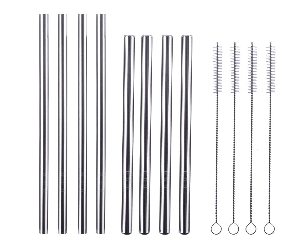 Mcool 8Pcs 0.5'' and 0.4'' Extra Wide Stainless Steel Straws Smoothie Straws for Boba and Milkshake + 4Brushes+ 1Purple Storage Pouch